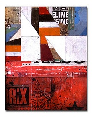 brix collage with paint, photo transfer , paper & screenprinting by kevin cherry