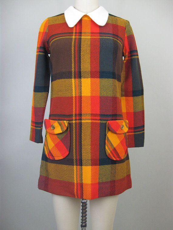 Vintage 60s 70s Mod PLAID Mini Dress