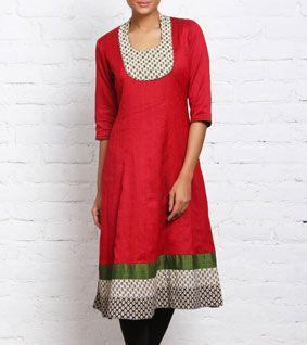 Red Cotton Anarkali Kurta   IndianRoots.com