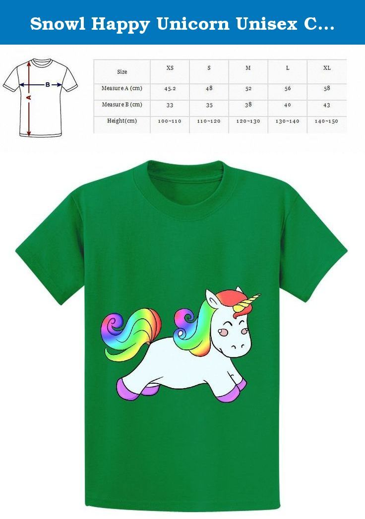 Snowl Happy Unicorn Unisex Crew Neck Personalized Tees Green. Happy Unicorn The softest,smoothest,best-looking shirts and tank tops available anywhere. all shirts and tank tops are printed using a technology called Direct-to-Garment (or DTG),which lays down soft durable,full color spectrum prints.
