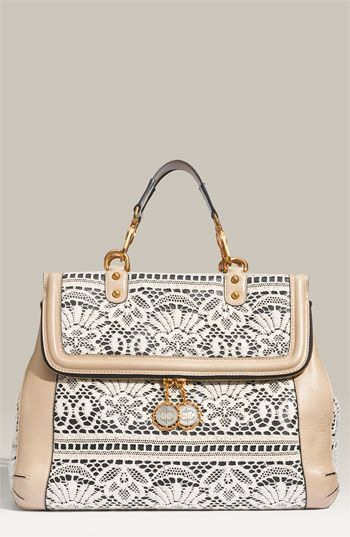 "Dolce&Gabbana; ""Miss Roce"" Lace and Leather Satchel.  
