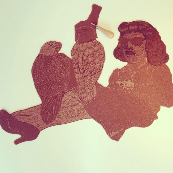 Work in progress....woman With falcons! Så skal den trykkes, kvinde/falke/film noir linoliumstryk 80x60cm