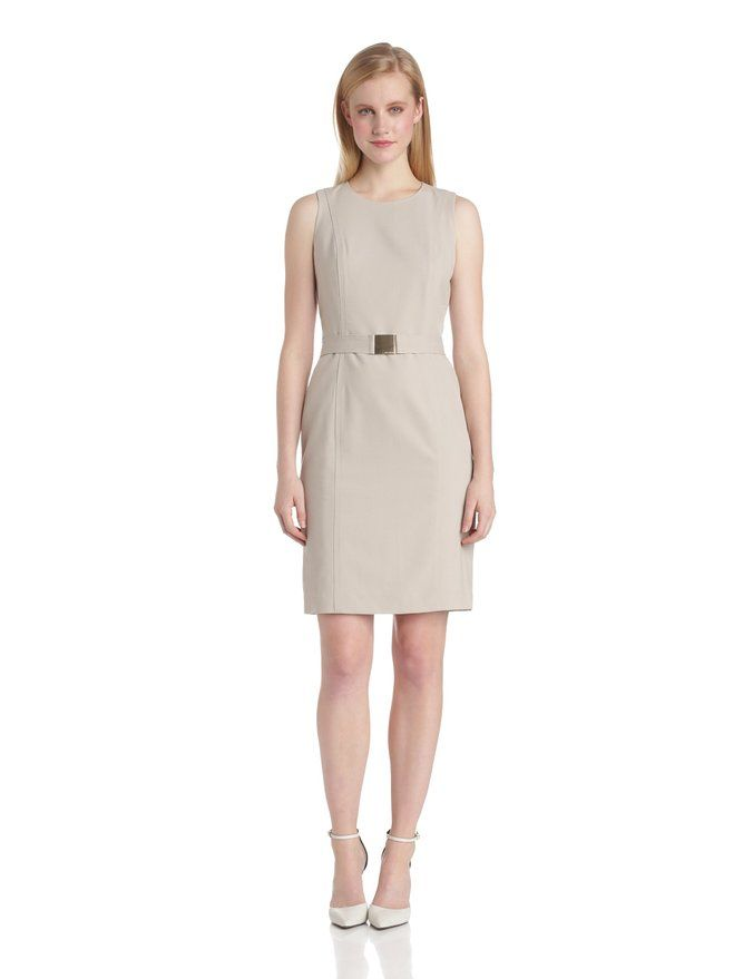 @calvinklein Belted Suit Dress in cream khaki