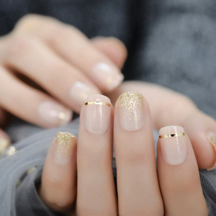 Gold Nails, My Nails, Nails Inc, Gold Glitter, Matte Gel Nails, Gold Nail Art, Nude Nails With Glitter, Glitter French Nails, S And S Nails