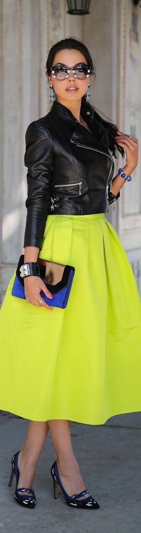 neon skirt with biker jacket