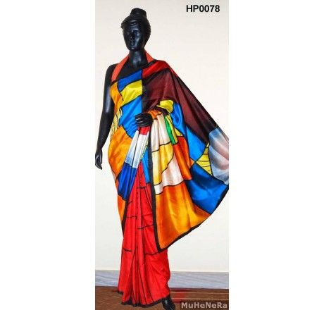 Special Hand Painted Saree. The painting on the saree is inspired by the painting of PIET MONDRIAN . only on www.muhenera.com