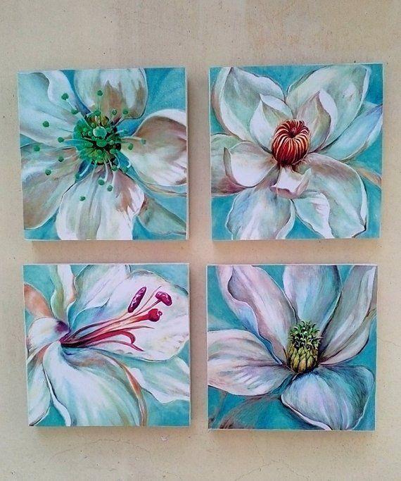 Weiße und blaue blaue Blumen-Kunst-Druck-Hintergrund-Handwerker
