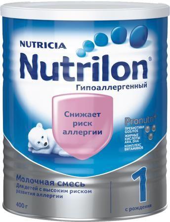 Nutrilon (Nutricia) 1 гипоаллергенный (c рождения) 400 г  — 639р.  Молочная смесь Nutrilon Гипоаллергенный 1 с рождения 400 г. Nutrilon Гипоаллергенный 1 используется в питании здоровых малышей с высоким риском развития аллергии при недостатке грудного молока у мамы или отсутствии возможности грудного вскармливания. Смесь Nutrilon Гипоаллергенный 1 можно использовать постоянно в качестве единственной смеси. В современном мире каждый третий ребенок имеет риск развития аллергии. Повышенный…