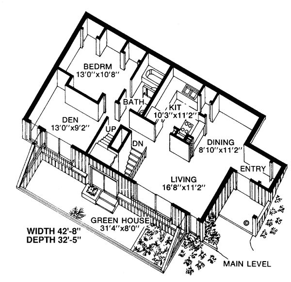 First Floor Plan of Contemporary Earth Sheltered s House Plan ...