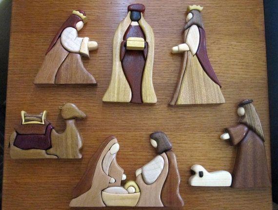 Exotic wood intarsia nativity set