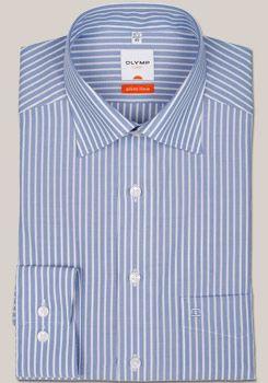 OLYMP Slim Hemd extra langer Arm mit New Kent Kragen im blauen Streifen Dessin