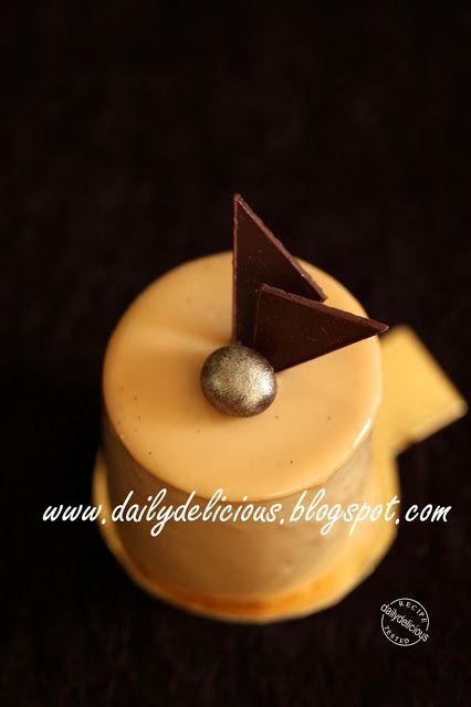 dailydelicious: Café blanc: Coffee and white chocolate entremets (w. caramel glaze)