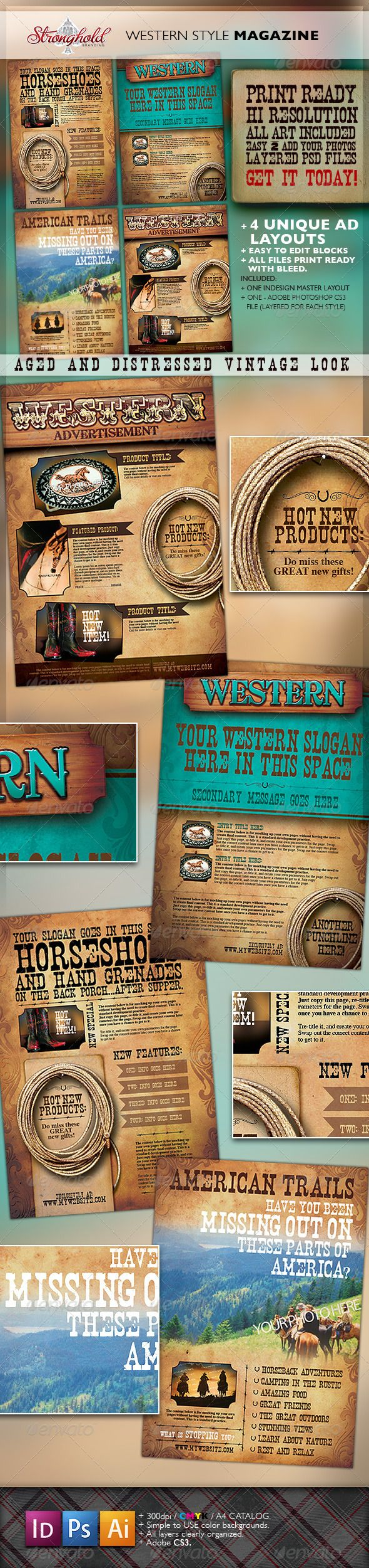 253 best design page layout images on pinterest lawyers flyers western vintage magazine ads by getstronghold western magazine ad templates size about perfect for all your western needdo miss the chance for 4 unique pronofoot35fo Image collections