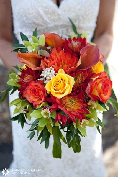 autumn wedding bouquet red orange yellow - autumn wedding bouquet red orange yellow.  Flowers of Charlotte loves this!   Find us at www.charlotteweddingflorist.com