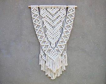 Macrame moderno del colgante de pared grande Boho decoración tejido tapiz bohemio decoración de la pared casa Acentos Hippie salón blanco Decor