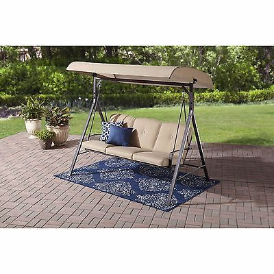 Patio Swing With Canopy Outdoor For Adults With Cushions 3 Seat Easy Assembly