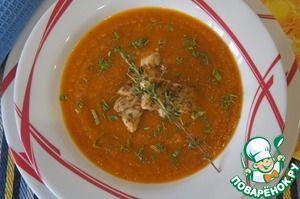 Суп из печеных овощей с рыбой