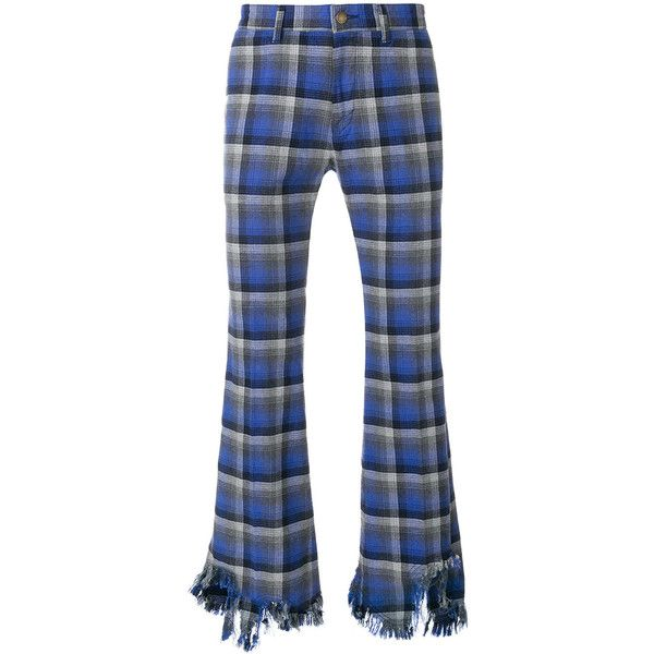 Facetasm flared distressed plaid trousers ($582) ❤ liked on Polyvore featuring men's fashion, men's clothing, men's pants, men's casual pants, blue, mens flare pants, mens tartan pants, mens blue pants, mens plaid pants and mens flared pants