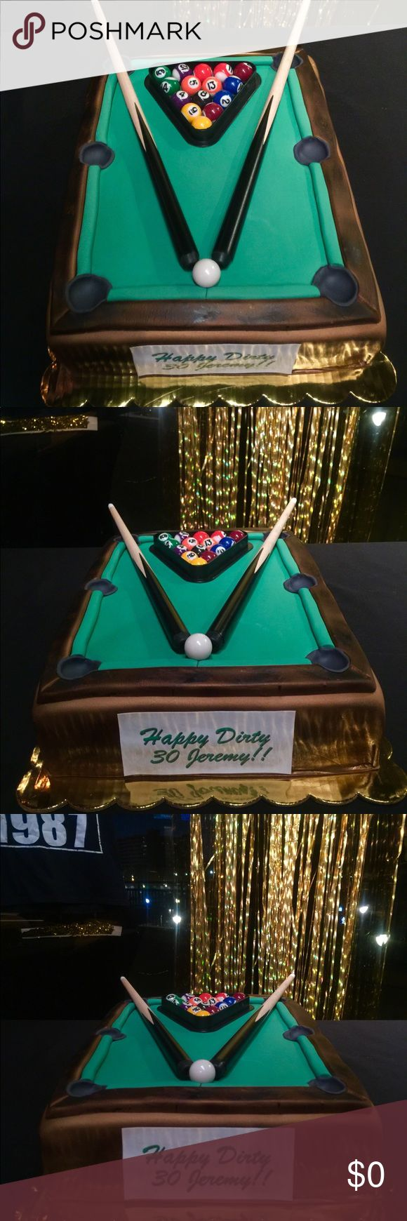 PLAYABLE POOL TABLE BIRTHDAY CAKE PLAYABLE POOL TABLE CAKE. CAKE HAS MINIATURE REAL BALLS AND STICKS. AS YOU CAN SEE THE BIRTHDAY BOY BURST THE BALLS BEFORE CUTTING. Other