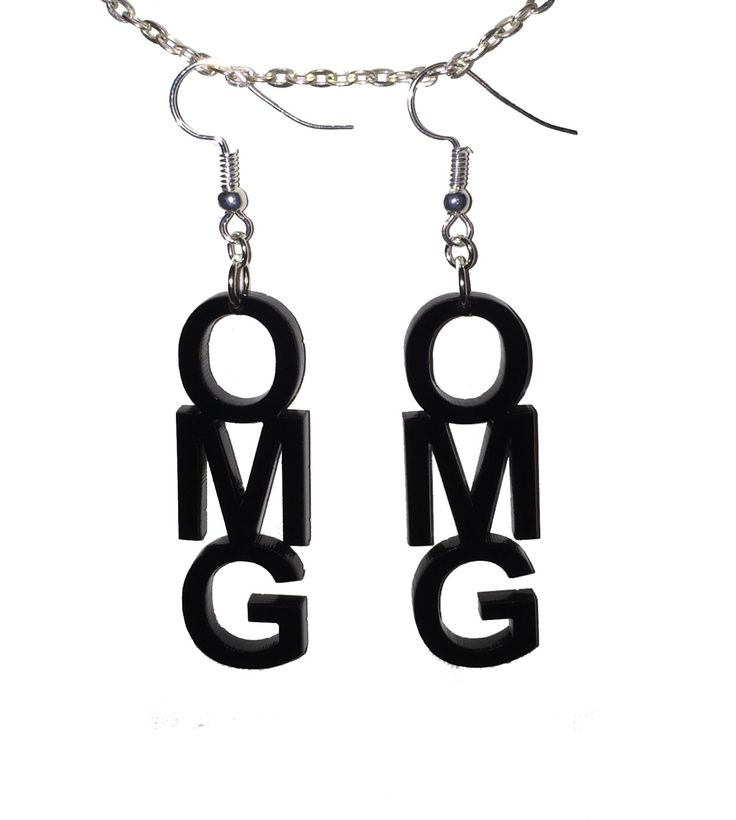 OMG Dangle Earrings Laser Cut Acrylic Cute Fun Nerdy Geeky Geek by 3rdDegreeLaser on Etsy