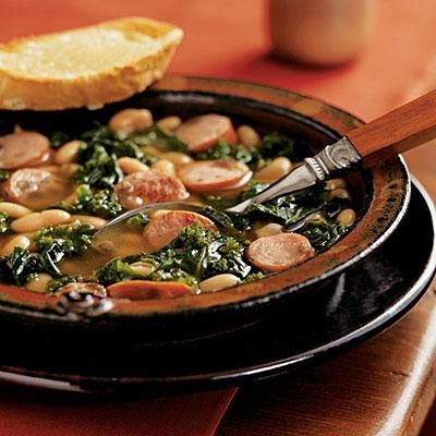 Cannellini Stew with Sausage and Kale and Cheese Toasts   Cookinglight.com