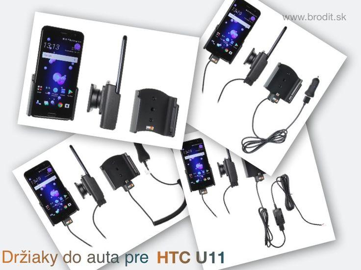 Nové držiaky do auta pre HTC U11. Pasívny držiak Brodit pre pevnú montáž v aute, aktívny s CL nabíjačkou, s USB alebo s Molex konektorom.