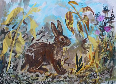 'Leveret' by Mark Hearld, 2016 (mixed media with collage on paper)