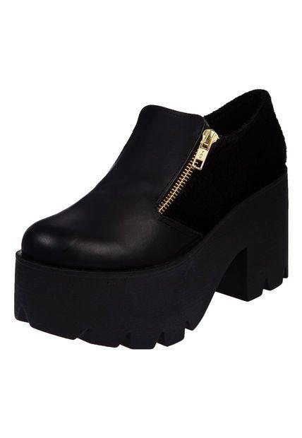 Zapato Negro Las Medusas Abotinado