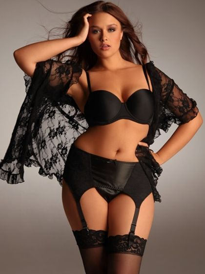 Short All Over Stretch Lace Robe  #plussizepanties  http://www.planetgoldilocks.com/plus-size-panties.htm  Short All Over Stretch Lace Robe #plussizelingerie #holidayfashion #panties