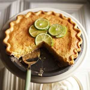 Lime Coconut Chess Pie The coconut sprinkled on the bottom of the pie crust in this creamy dessert recipe rises during baking to form a golden-brown crust on top.