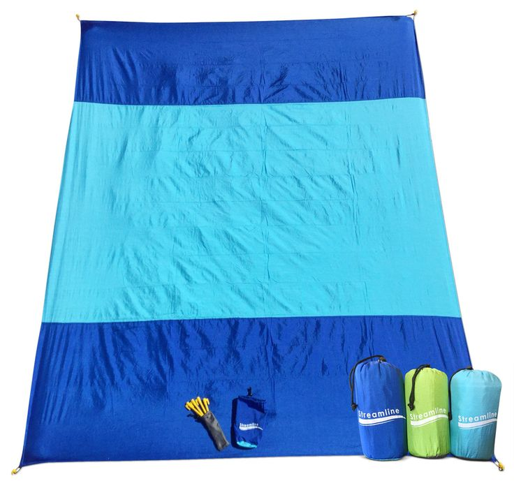 SAND-AWAY Sand Proof Outdoor Compact Beach Blanket (20% Bigger 9 x 7 ft) Oversized Beach, Picnic Blanket/ Beach Mat (INCLUDES 4 FREE STAKES!) Great for the Beach, Picnic, Camping, Hiking - XXL (royal). ➔ SAND FREE   STAYS COOL and DRY - SAND-AWAY is crafted with state of the art parachute nylon so the sand won't stick. Just give it a shake and sand is gone ! STAYS DRY- No more wet towels or blankets, Unlike other blankets the parachute material dries in a snap and stays cool even on those...