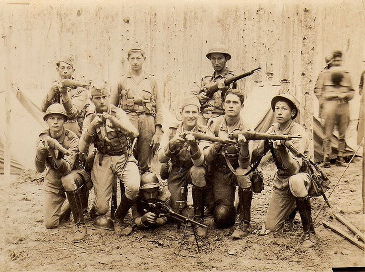 Brazilian soldiers pose for photographs before shipping to war, World War II. Yes, the Brazilians did fight in World War II, in Italy against the Germans. An expeditionary forced of 25,500 men were sent in 1944. In the photo they are shown with Brazilian Mausers and their own military gear, but upon arrival in Italy they were issued M1 Garands and US Unforms (for standardization sake)