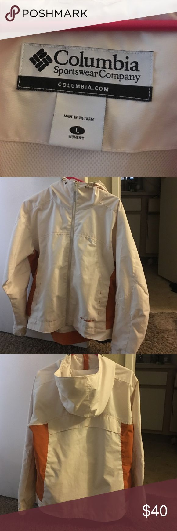 Women's size L Columbia Sportswear rain coat. Women's Large, orange and white, hooded, jersey lined. Good condition, no stains. Columbia Jackets & Coats