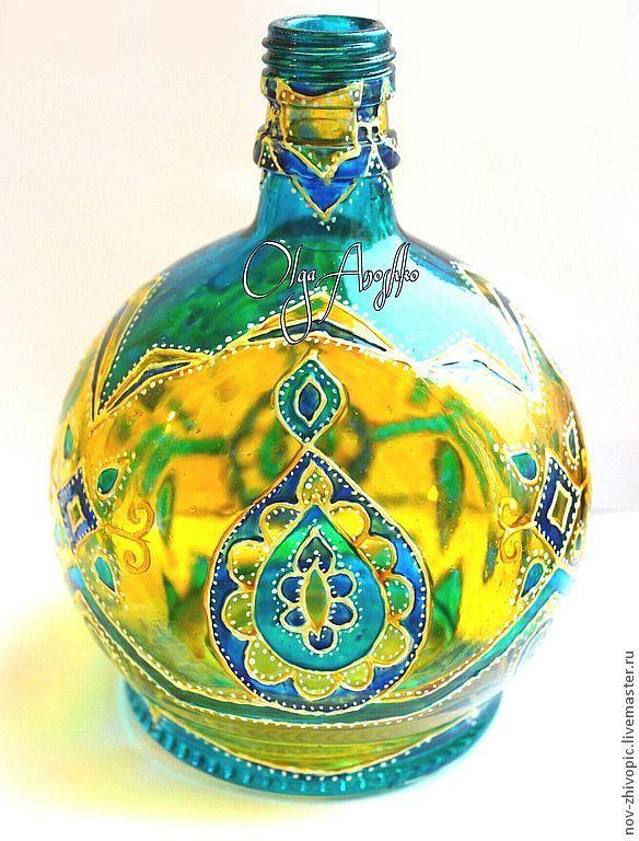 Бутылка декоративная. Витражная роспись по стеклу. - бирюзовый,бутылка