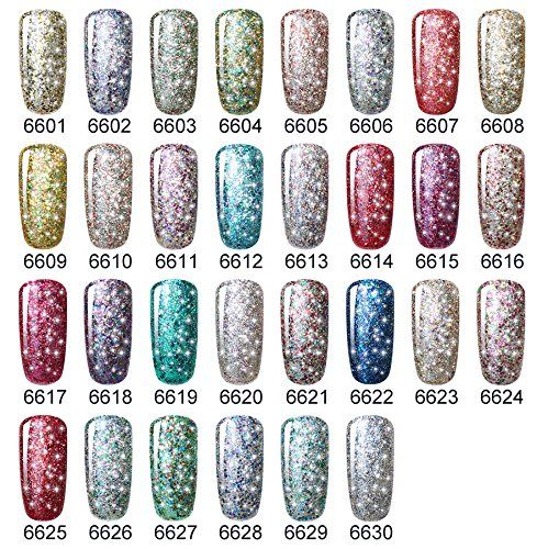 Amazon.com : CLAVUZ 6pcs Starry Gel Nail Polish Color Collection Set Soak Off Super Bling Gel Nail Lacquer Glitter Galaxy Nail Art Manicure 8ml New Starter Gift Kit : Beauty