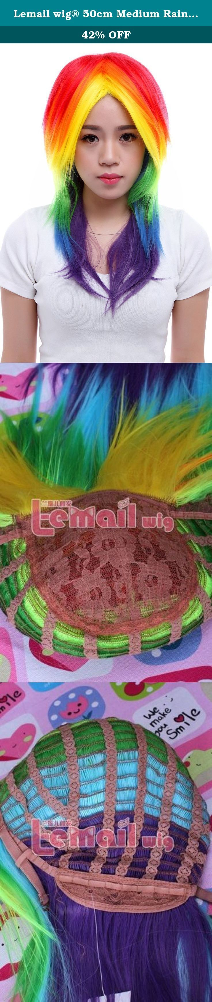 Lemail wig® 50cm Medium Rainbow Dash Colorful Costumes Cosplay Hair Wig. wig length :50cm/19.68inch G.W.:240g Material: heat-resistant fiber Color: Rainbow color 1.The size is adjustable and no pins or tape should be required. It should be fit on most people. All you should need to do is adjust the hooks inside the cap to the correct size to suit your head. 2.Please be aware that colors might look slightly different in person due to camera quality and monitor settings. Stock photos are…