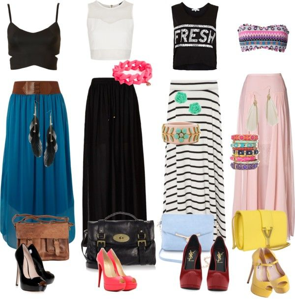 """""""long skirt outfit❤"""" by eikerg ❤ liked on Polyvore <<< I'm being hit with a long skirt phase again. Always been my thing <3"""