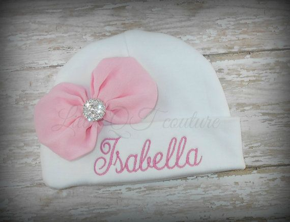 Personalized custom baby beanie cap with chiffon bow embellishment. Perfect match for one of my Brand Sparkling New, or The Princess has arrived