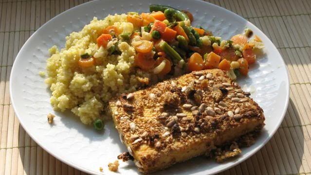 Gebackener Tofu mit Gemüse und Hirse - (interessante Marinade - probiers mal aus!)