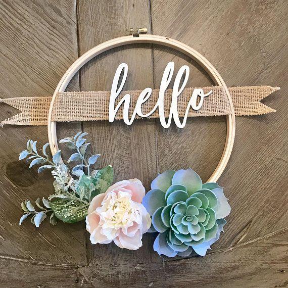 Custom Wreath - Succulent Wreath with Family Name - Personalized Gift - 10in Embroidery Hoop Wreath - Farmhouse Decor - Rustic Decor