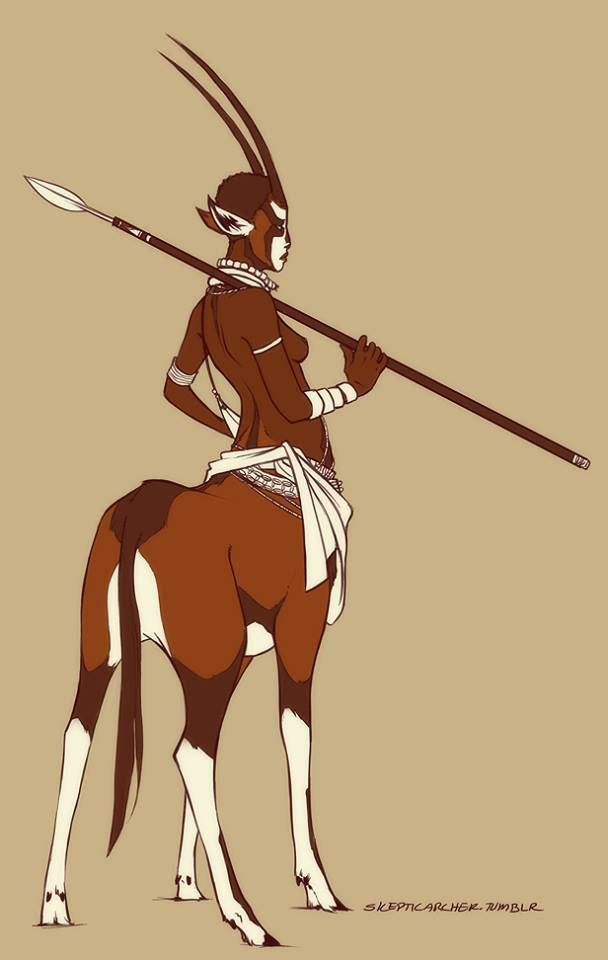Centaur by Skeptic Archer. This looks to be half human and half gazelle rather than horse. I'm not aware of any legendary creature that fits this description, but it was too interesting not to post.