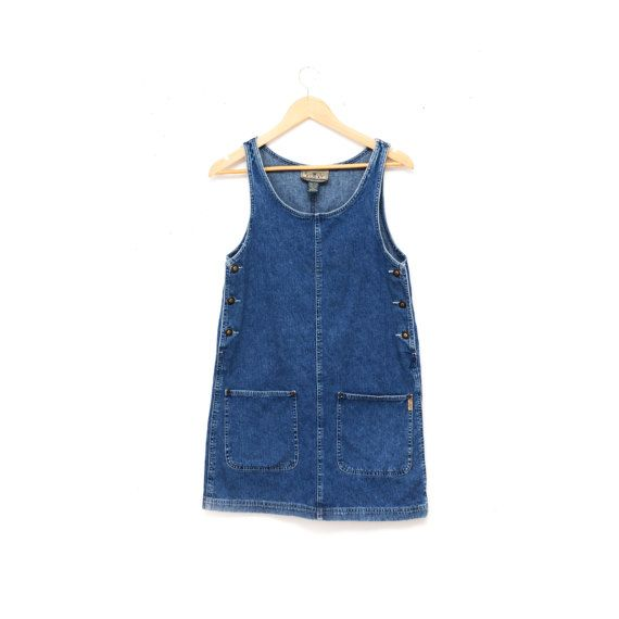 Vintage 90s Overall Jean Dress XS/ 90s Denim Jumper by TheWanderly