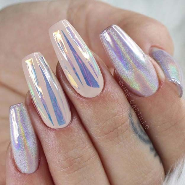 Nail Art Ideas For Coffin Nails - Holy Holo - Easy, Step-By-Step Design For Coffin Nails, Including Grey, Matte Black, And Great Bling For Instagram Ideas. Includes Everything From Kylie Jenner Ideas To Nailart For Short Nails, Long Nails, And Beautiful Shape And Colour Like Pink. Polish For Jade, Glitter, And Even Negative Space - https://www.thegoddess.com/nail-ideas-coffin-nails
