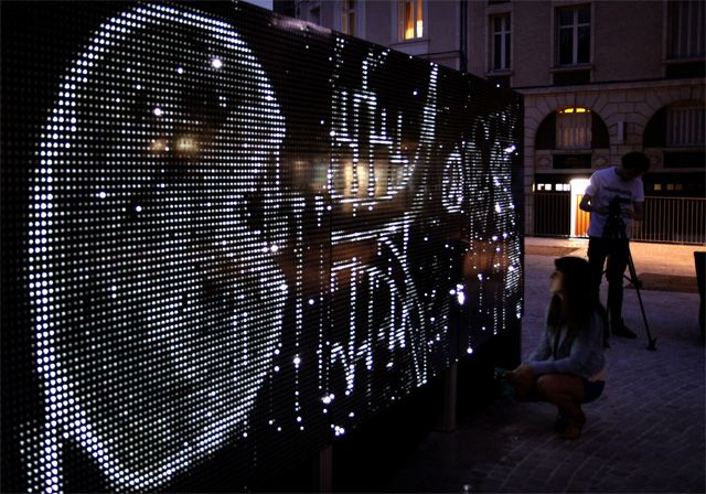 Water Light Graffiti: A Moisture Sensitive Surface Embedded with LEDs Creates Illuminated Art street art