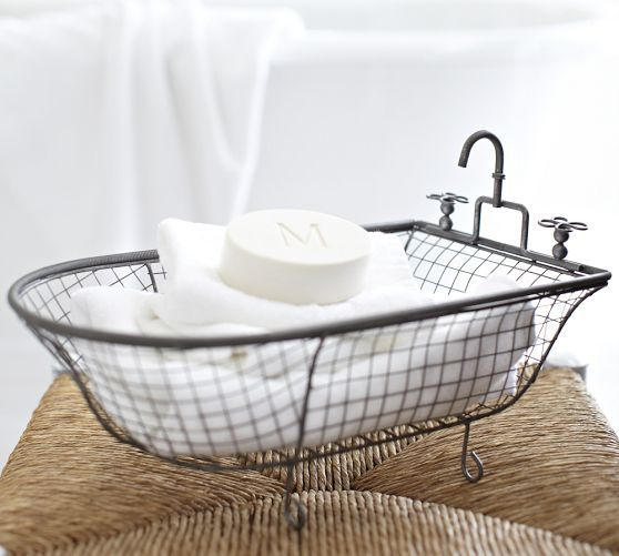 Kirklands metal bathtub basket http www for Bathroom accessories baskets