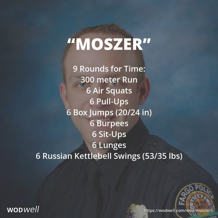 9 Rounds for Time: 300 meter Run; 6 Air Squats; 6 Pull-Ups; 6 Box Jumps (20/24 in); 6 Burpees; 6 Sit-Ups; 6 Lunges; 6 Russian Kettlebell Swings (53/35 lbs); If you have a weight vest, wear it.