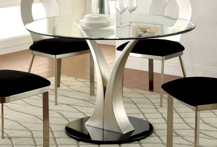 Valo Contemporary Silver Black Steel Glass Round Dining Table