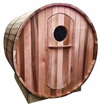 Custom made Ukko barrel sauna with traditional door
