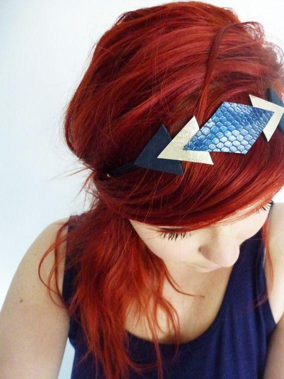 Headband en cuir python bleu nacré, champagne et bleu nuit - Paulinka