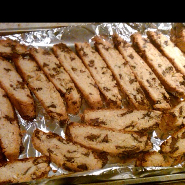 Jamie's special chocolate chip and almond slice biscotti